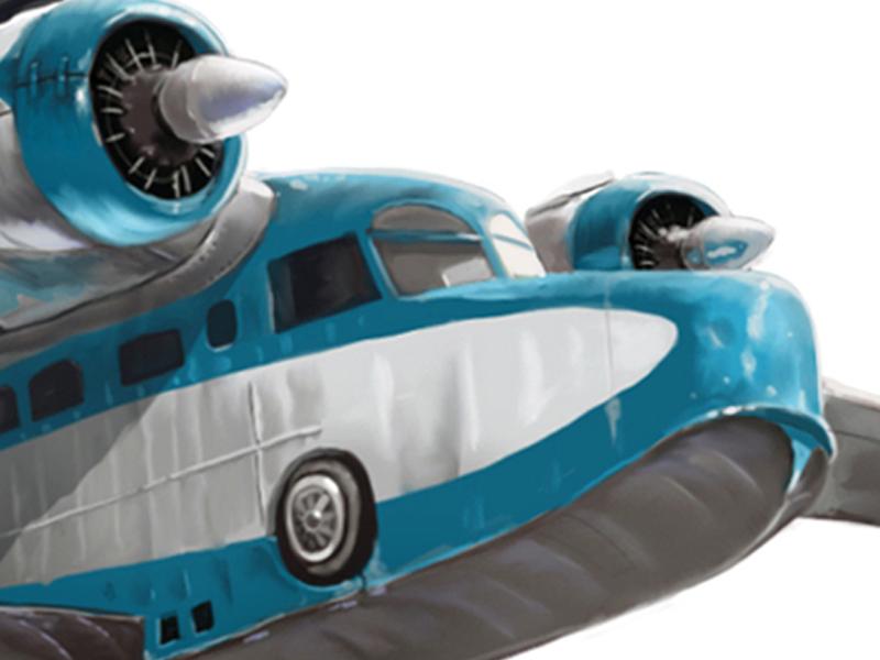 Digitaalinen kuvitus aiheena vesitaso lentokone Grumman Goose.