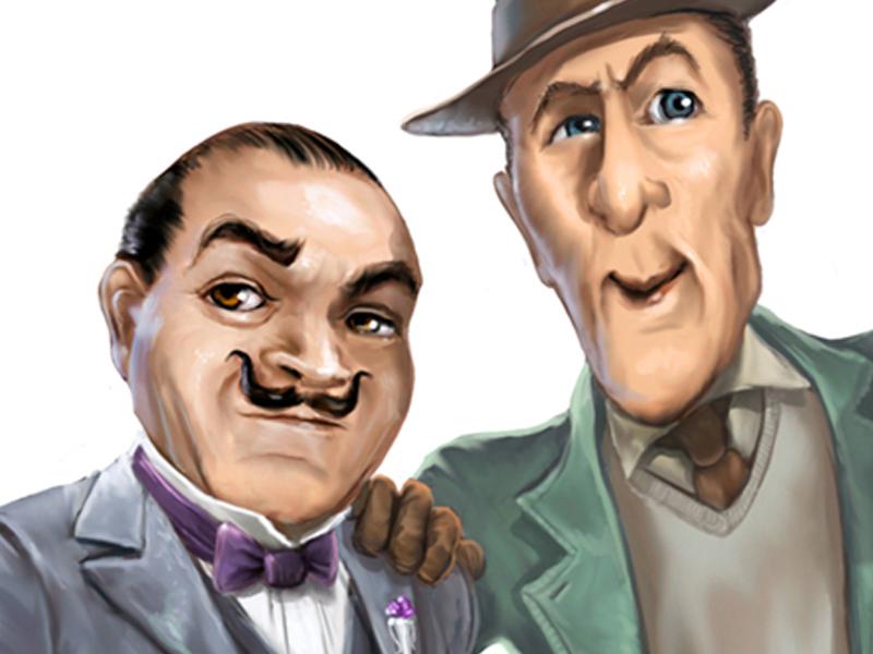 Digitaalinen fani hahmo kuvitus aiheena Agatha Christien yksityisetsivä Hercule Poirot.