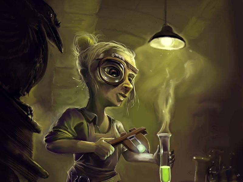 Digitaalinen hahmo kuvitus aiheena steampunk alkemisti.