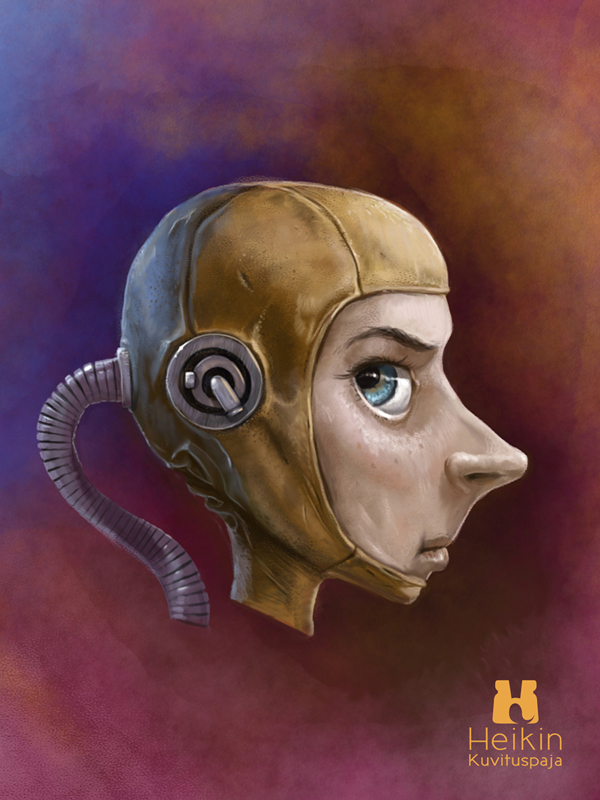 A fictive digital steampunk style illustration of a space pilot.