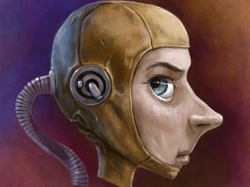 Digitaalinen fantasia kuvitus aiheena fiktiivinen scifi pilotti hahmo.