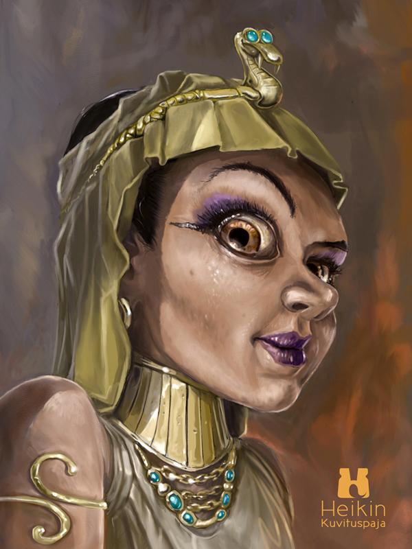 Digitaalinen kuvitus, aiheena Kleopatra.