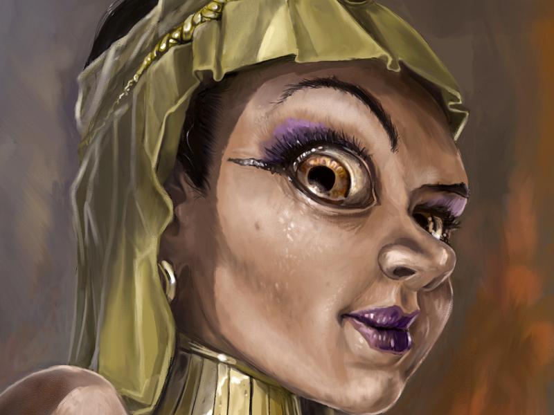 Digitaalinen kuvitus aiheena historiallinen hahmo Kleopatra.