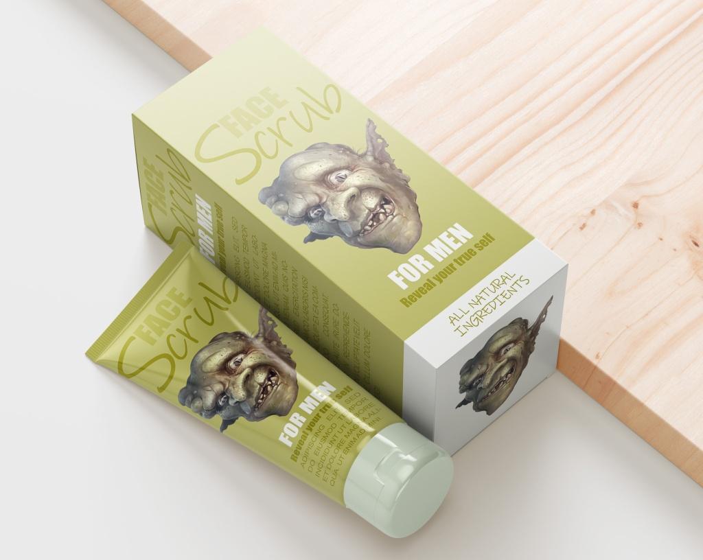 Malliesimerkki pakkaussuunnittelu jossa kuvitus taitettu osaksi luonnonmukaista kosmetiikka pakkausta.