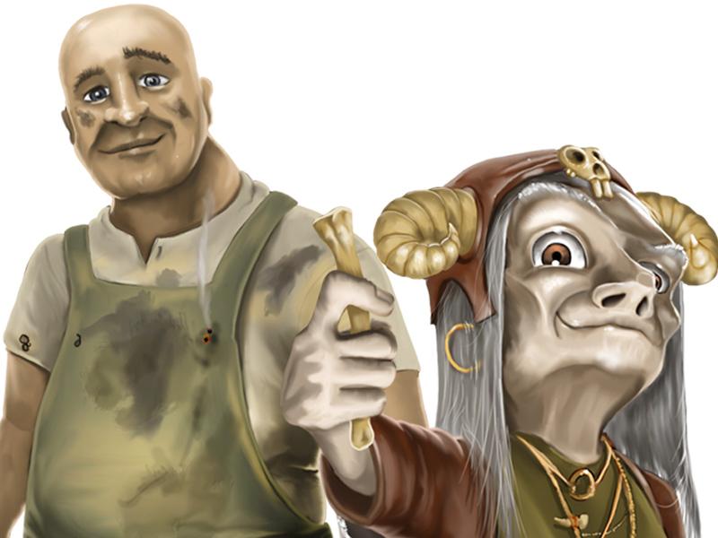 Digitaalinen kuvitus aiheena Kalevalan mytologia hahmot Louhi ja Ilmarinen.