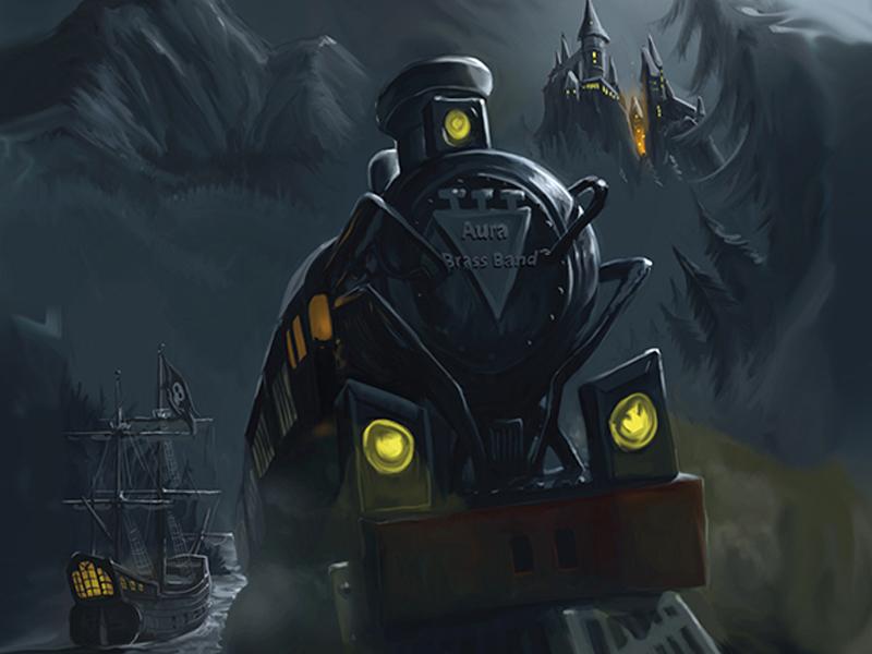 Digitaalinen kuvitus aiheena kummitusjuna ja fantasia.