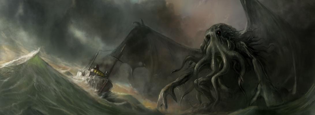Digitaalinen fantasia kuvitus aiheena H.P.Lovecraftin Cthulhu mytologia ja merimaisema.