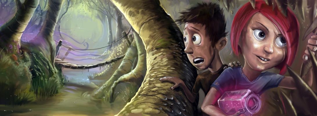 Digitaalinen kuvitus aiheena fiktiivinen nuorten seikkailija hahmo tutkimusretkellä.