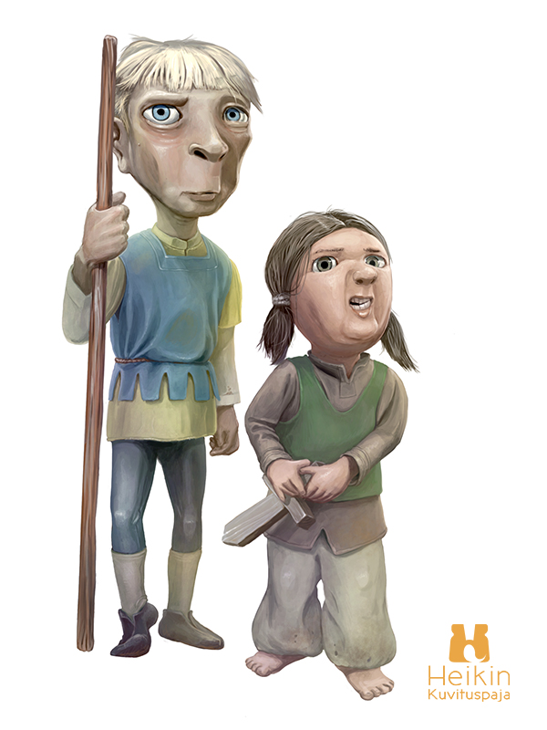 Digital illustration of two kids playing knights