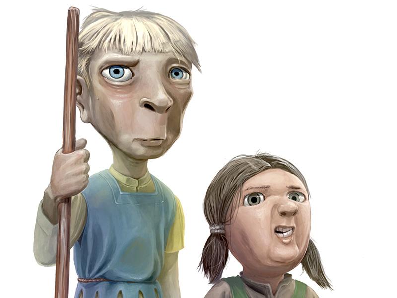 Digitaalinen kuvitus aiheena keskiaikainen humoristinen hahmo.
