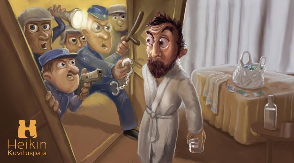 Humoristinen kuvitus pakinaan aiheena poliisi ja väärinkäsitys.