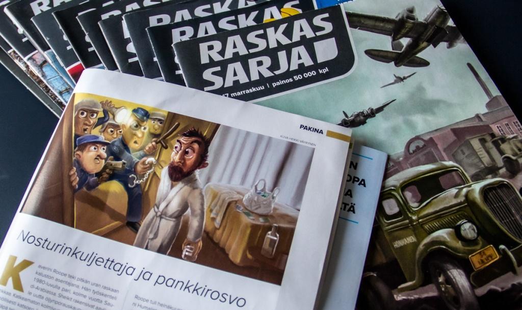 Kuva Raskassarja lehden kansista ja pakina-aukeamasta, jossa humoristinen kuvitus.